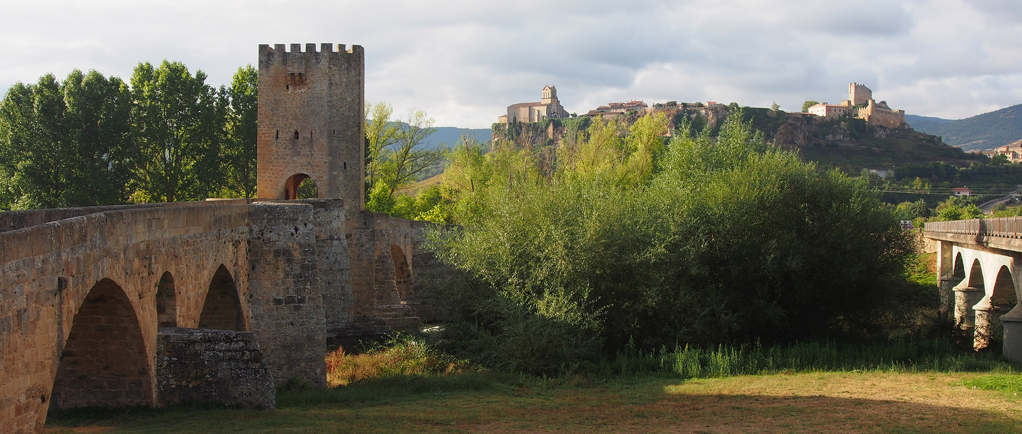 Medieval Ebro bridge and fortified town of Frias