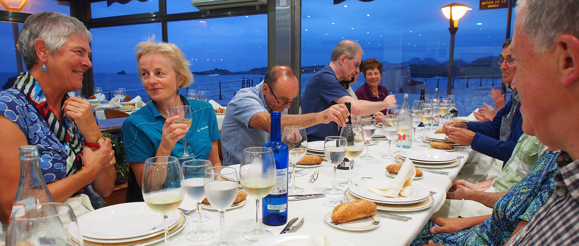 Anticipating a seafood feast at Hotel Astuy, Isla Playa on the Cantabrian coast